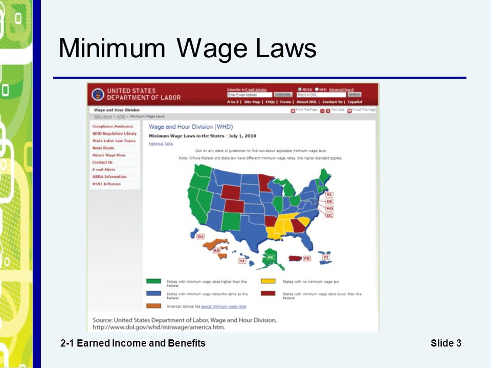 the benefits of the minimum wage laws However, the minimum wage varies between and within states, and the current  federal  apha policy statements related to income and other employment  benefits and  law center advocates for an increase in the federal minimum  wage to.
