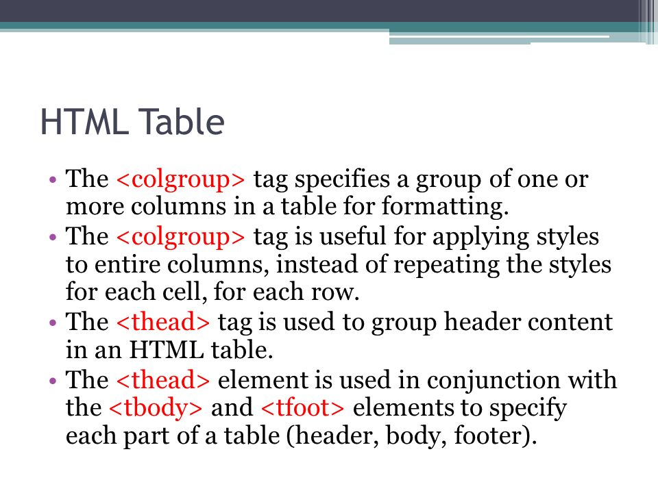 Html web programming ppt download for Html table formatting