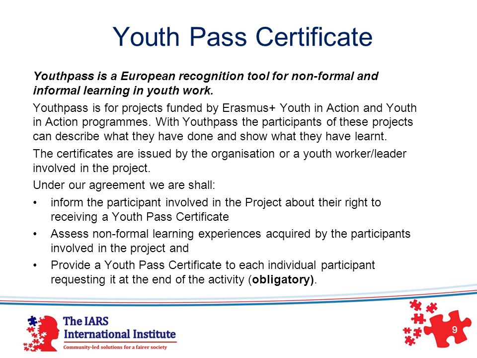Youth Pass Certificate