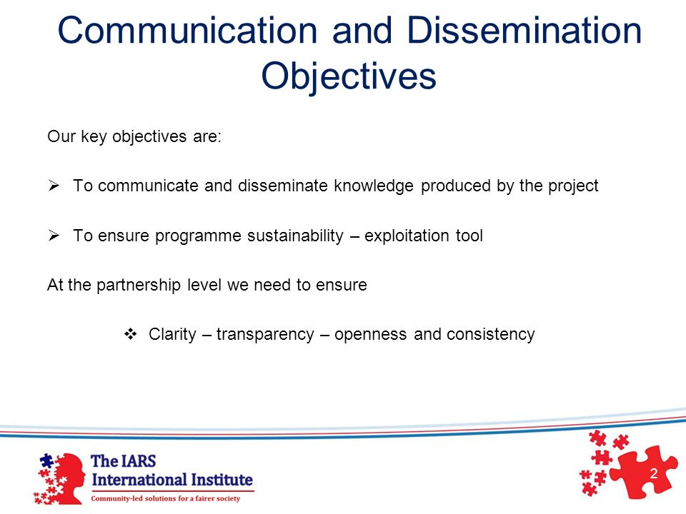 Communication and Dissemination Objectives