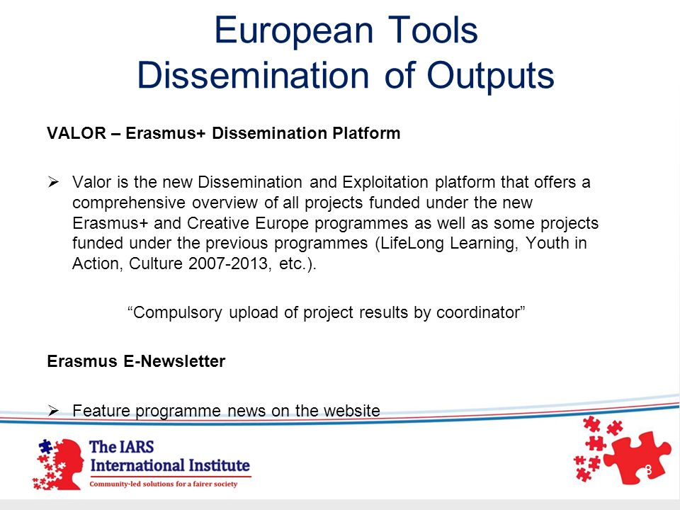 European Tools Dissemination of Outputs