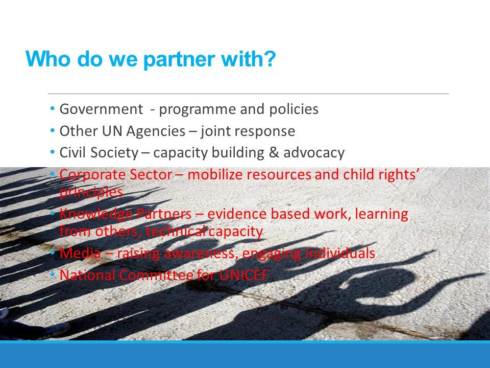 Who do we partner with Government - programme and policies