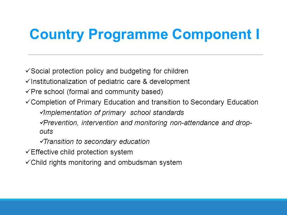 Country Programme Component I