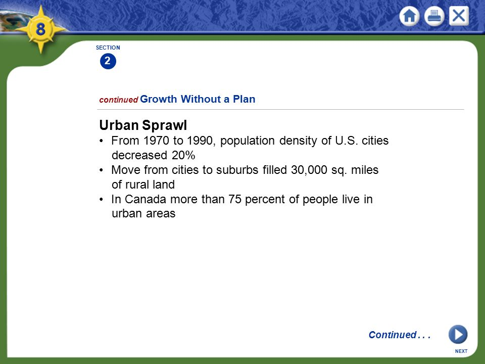 SECTION 2. continued Growth Without a Plan. Urban Sprawl. • From 1970 to 1990, population density of U.S. cities decreased 20%