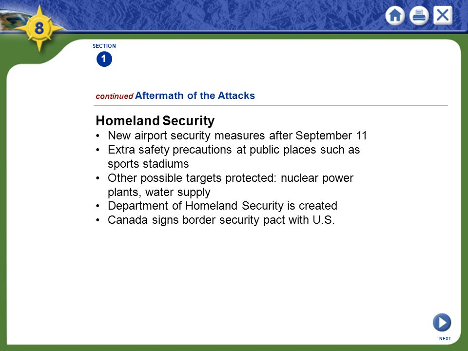 Homeland Security • New airport security measures after September 11
