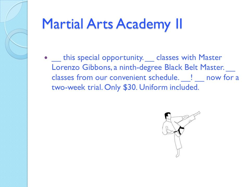 Martial Arts School Business Plan