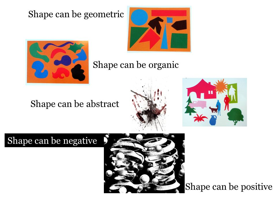 Shape can be geometric Shape can be organic. Shape can be abstract.