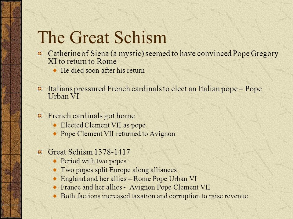 """great schism essay The crisis of the papacy essay the great schism proved to be very detrimental for the roman catholic church because """"the clergy had worked long and hard to."""
