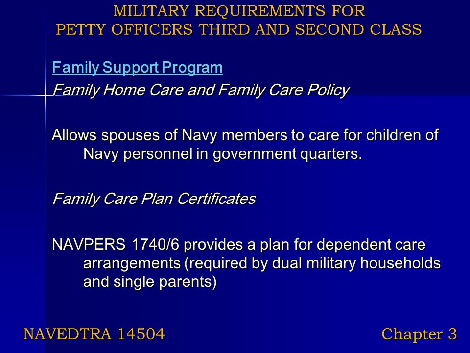 Military Requirements for Petty Officers Third and Second Class ...