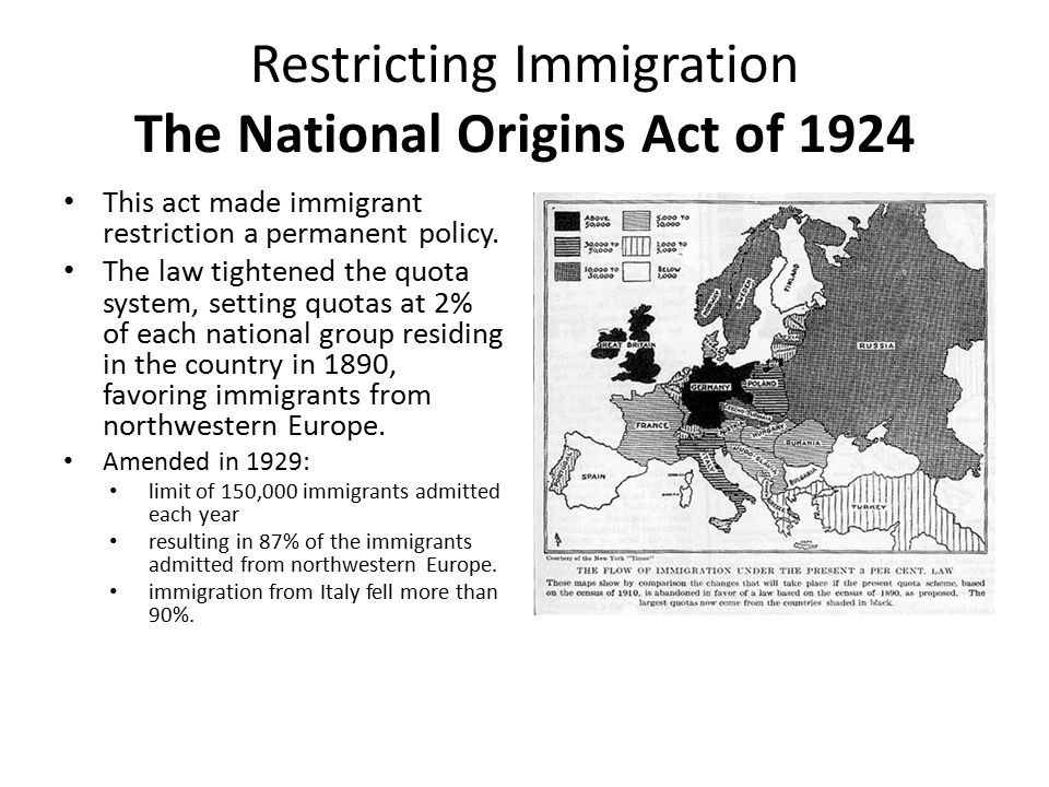 the immigration act of 1924 essay The first federal law in us history to limit the immigration of europeans, the immigration act of 1921 reflected the growing american fear that people from southern and eastern european co.