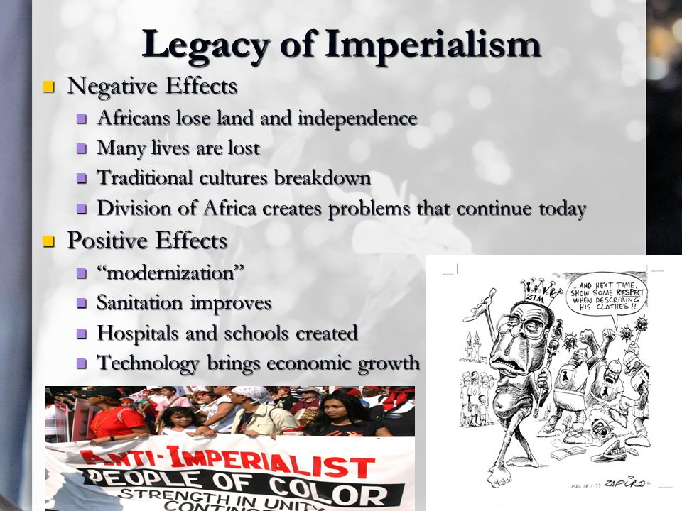 the effects of imperialism in africa essay A summary of imperialism in asia (1830-1900) in 's europe 1871-1914 perfect for acing essays, tests, and quizzes, as well as for writing lesson plans to india and beyond, hence its island holdings in the mediterranean, along the west african coast, at the southern tip of africa, and, most importantly, the suez canal.