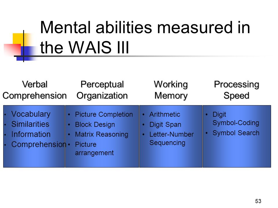 mental abilities What is general mental ability general mental ability (gma) is a term used to describe the level at which an individual learns, understands instructions, and solves.