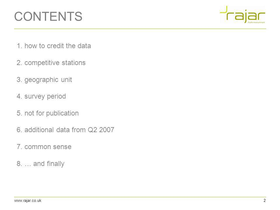 CONTENTS 1. how to credit the data 2. competitive stations