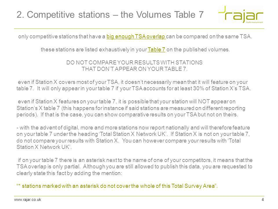2. Competitive stations – the Volumes Table 7