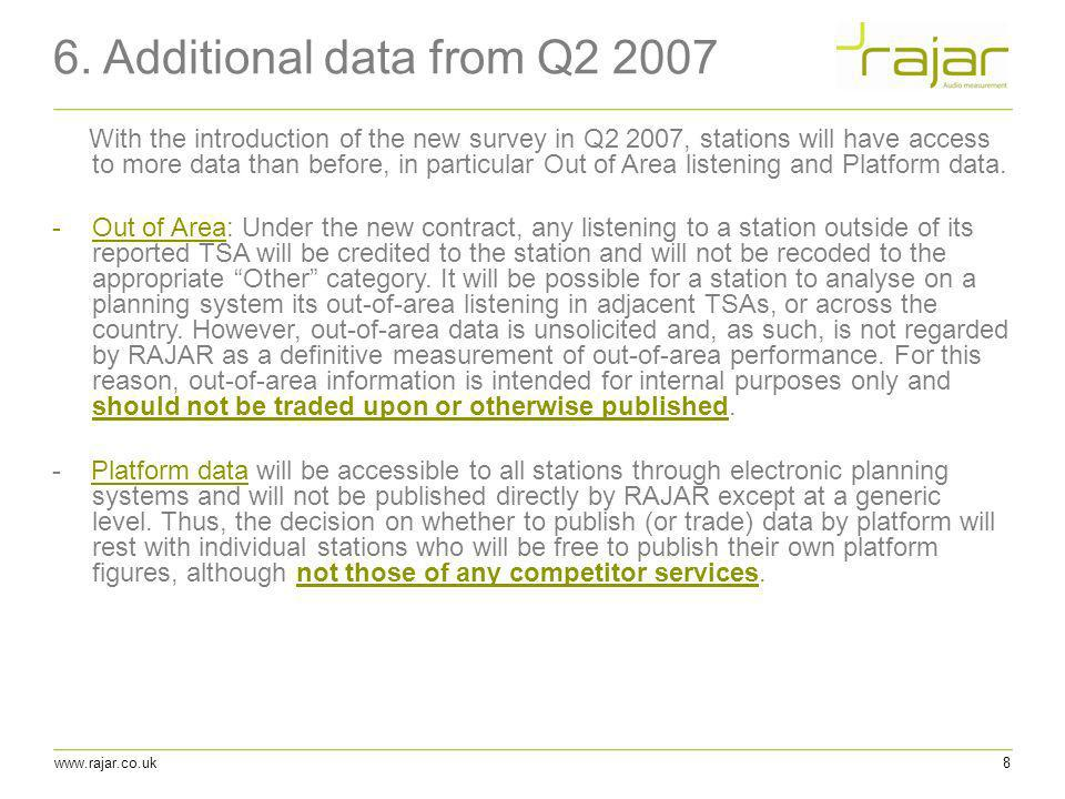 6. Additional data from Q2 2007