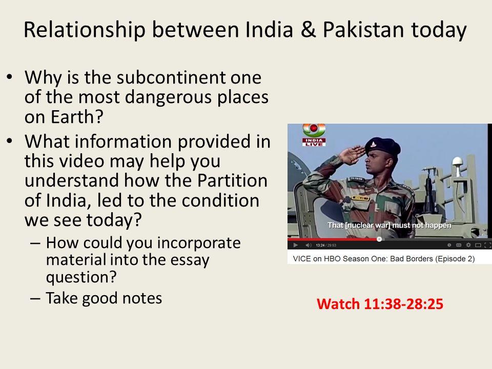 Relationship between india and pakistan essay