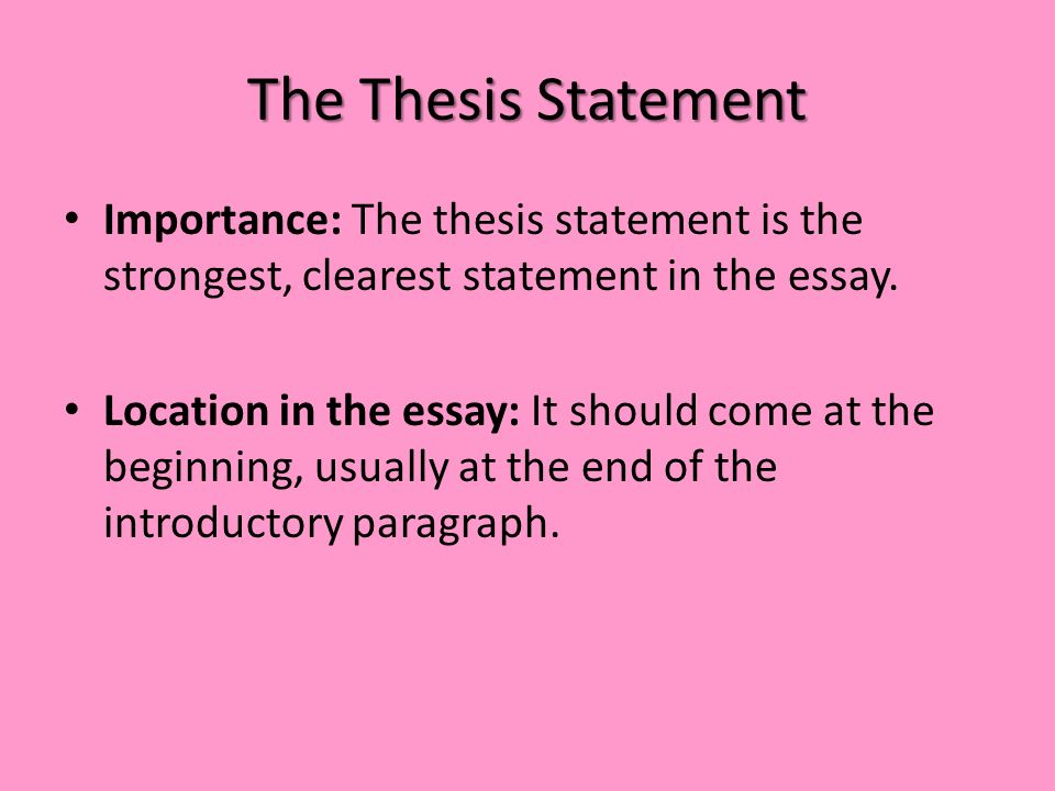 Examples of personal essay thesis statements