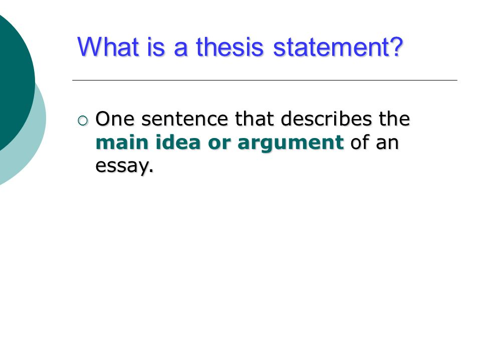 The definition of thesis statement