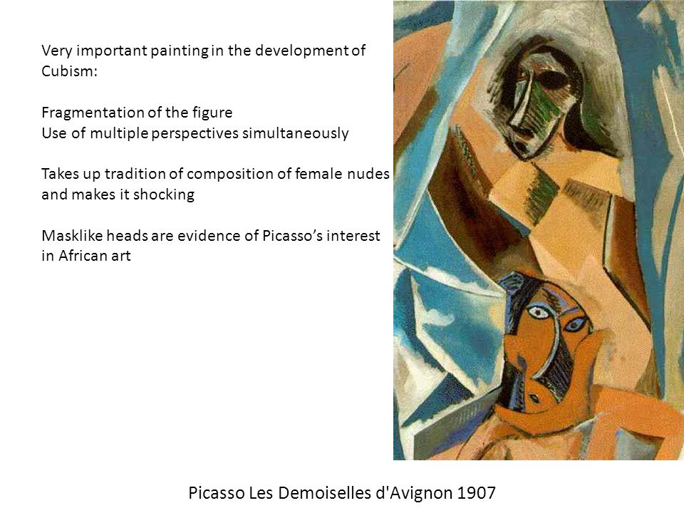 an introduction to picassos development and les demoiselles davignon Pablo picasso's masterpiece les demoiselles d'avignon was one  in the  following years the two artists worked together to develop  is it really focusing  on the ongoing series he's doing and just introducing some twists to it.