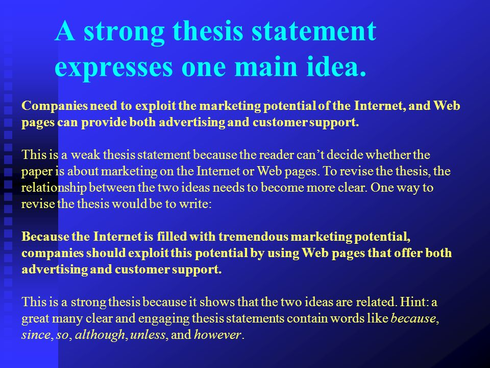 thesis statement ideas The topic and thesis statement of a persuasive speech are both key parts of the speech the topic is what defines the speech's content, while the thesis statement.