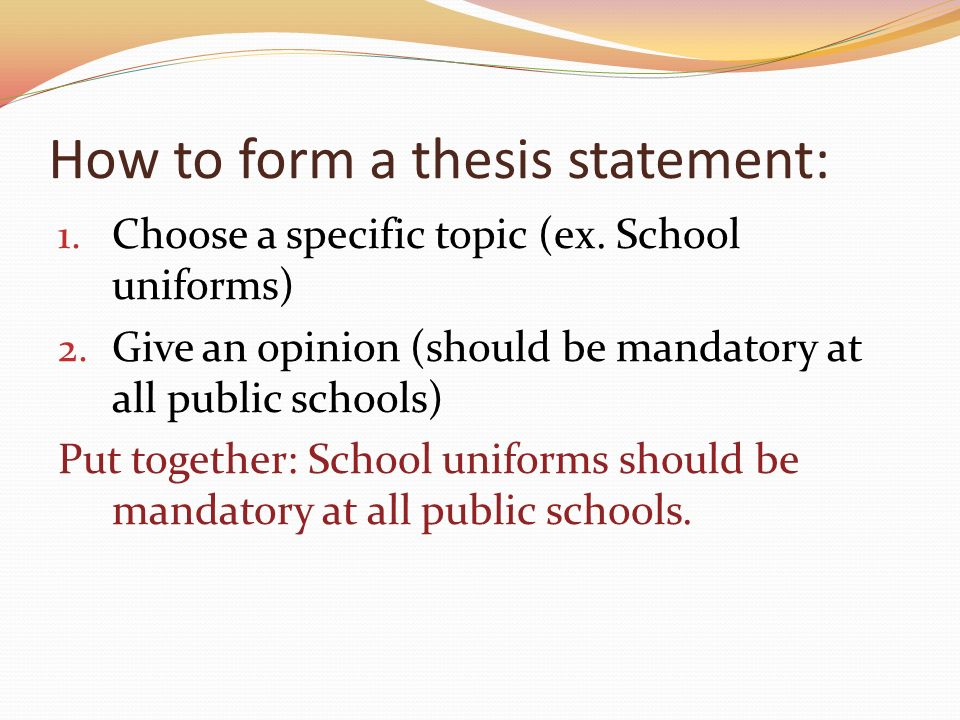 thesis statement on no school uniforms Of school uniforms statement of the problem a mandatory uniform dress policy  was implemented at william h ruffner middle school, but no data had been.