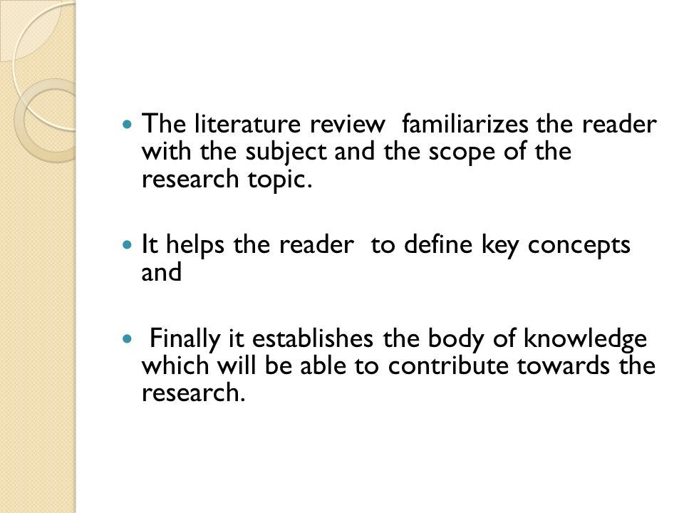 Scope of work literature review