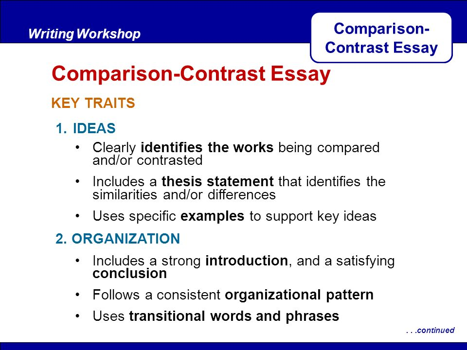 ideas for comparison essays Essay topics by category there are plenty essay types, and the character of their topics depends on the specifics of each type  compare and contrast essay topics.