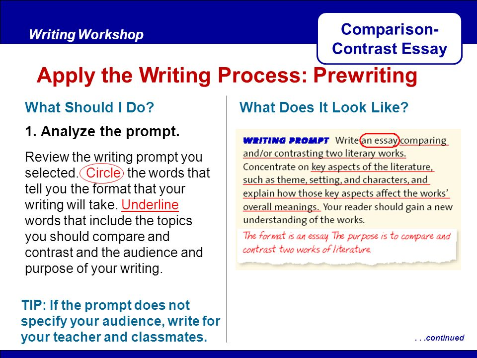 Compare and contrast essay prompt
