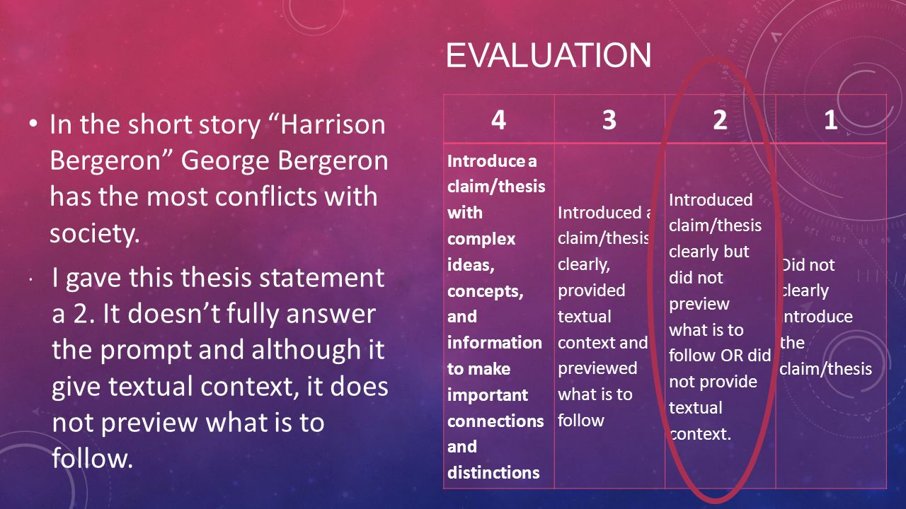 """thesis statement for the story harrison bergeron """"harrison bergeron"""" is a short story that was written in 1961 by kurt vonnegut it was first published in the october issue of the """"magazine of fantasy and science fiction"""" this story was not extremely popular at the time, but over the years, it grew in popularity."""