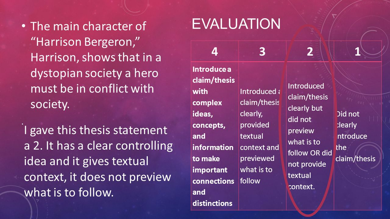 good thesis statement harrison bergeron Transcript of similarities of the lottery and harrison bergeron similarities of the lottery and thesis statement both harrison bergeron and the.