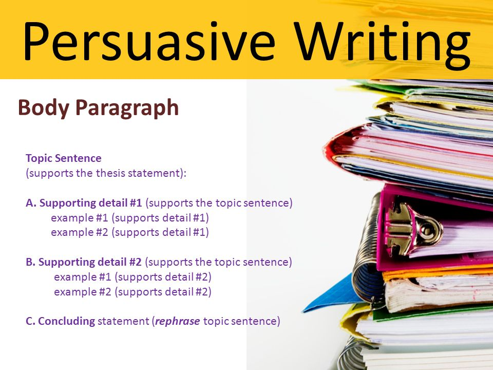 write body persuasive essay Oh no your professor wants you to write a persuasive essay learn what a persuasive essay is and how to write one.