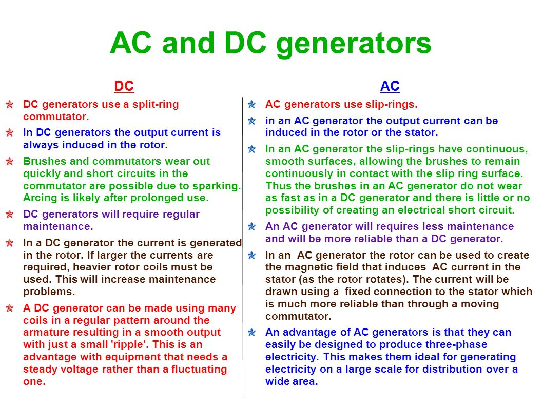 Difference between dc generator and motor for Ac and dc motor