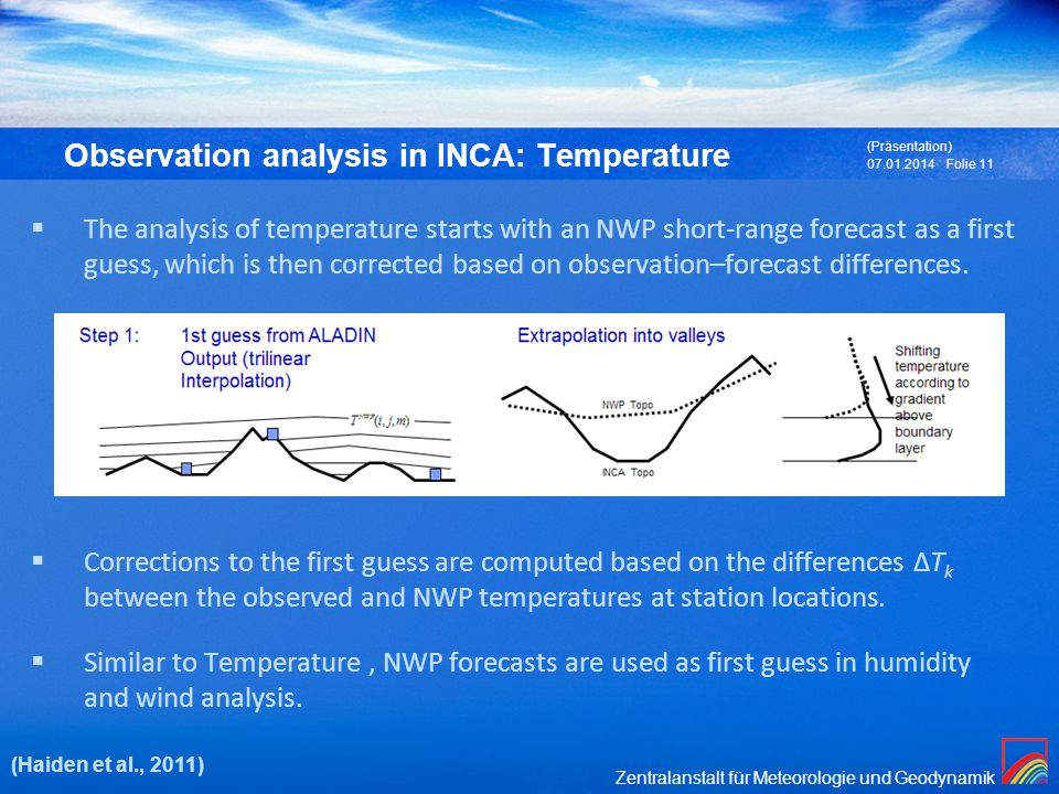 Observation analysis in INCA: Temperature