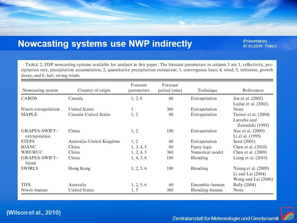 Nowcasting systems use NWP indirectly