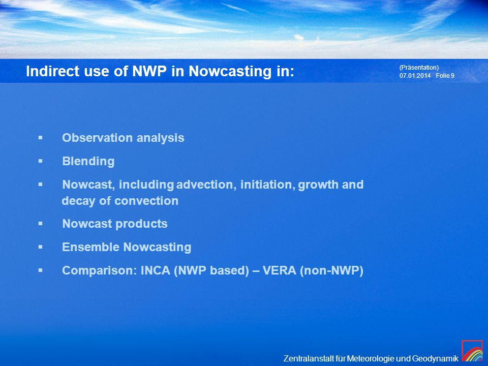Indirect use of NWP in Nowcasting in: