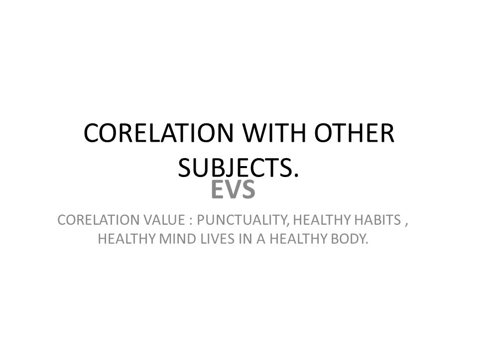 CORELATION WITH OTHER SUBJECTS.