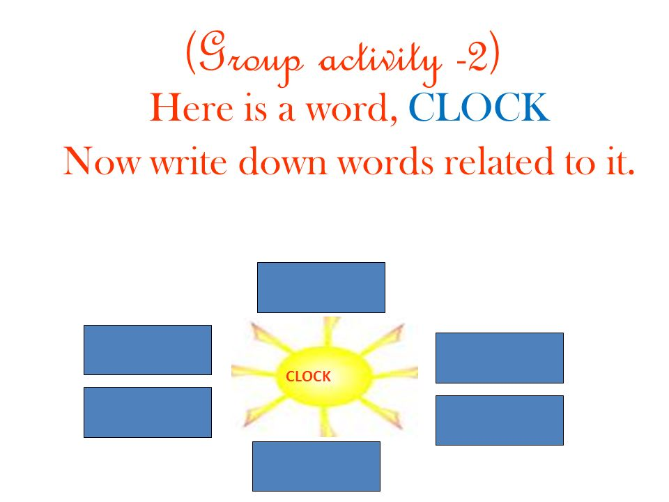Here is a word, CLOCK Now write down words related to it.