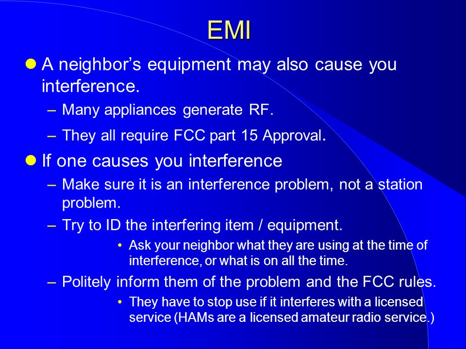 how to stop interference on elect equipment