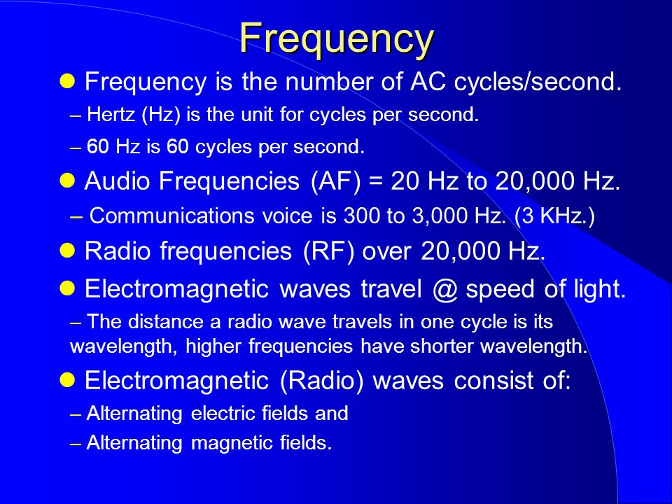 Frequency Of Ac : Ham cram amateur radio technician license review course