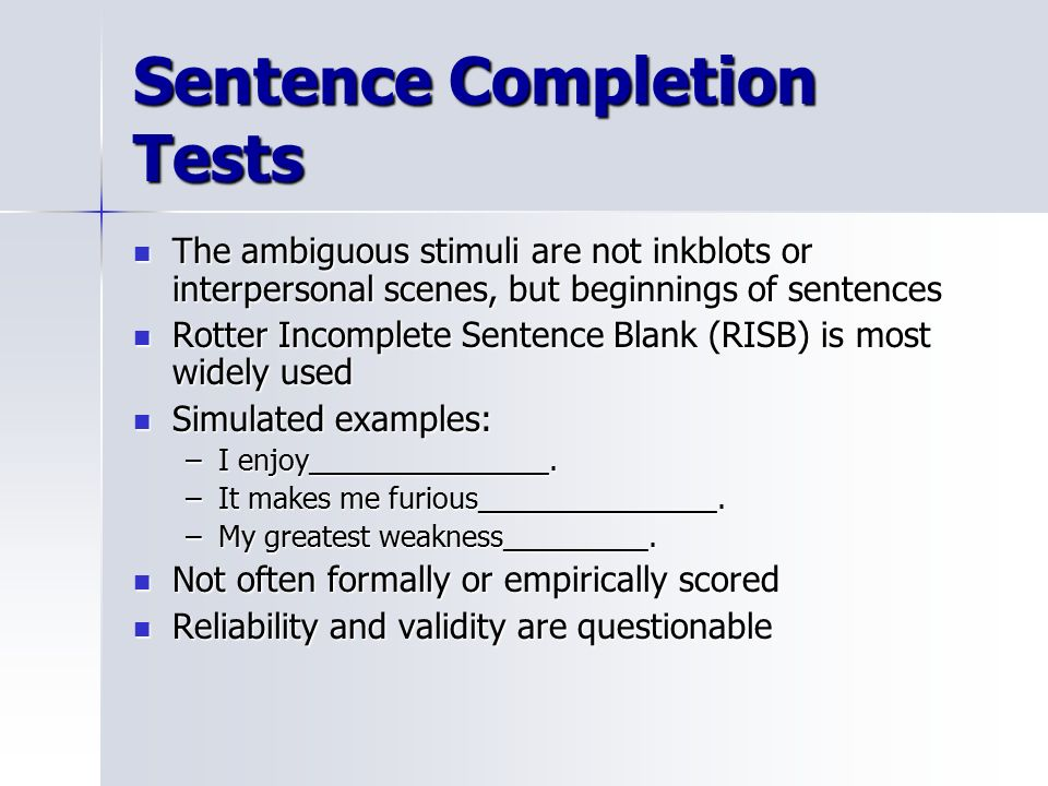 sack sentence completion test The sentence completion method - springer link the sentence completion method of projective testing encompasses a wide who used it as one of a number of tests to aid in questions of guidance had only the patient's responses on the sack sentence completion test with which.