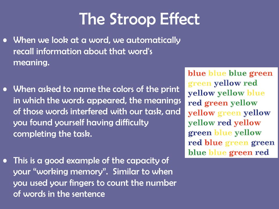 stroop effect On the information level, this experiment serves to acquaint students with the  stroop effect this effect focuses on the concept of interference when the brain is .