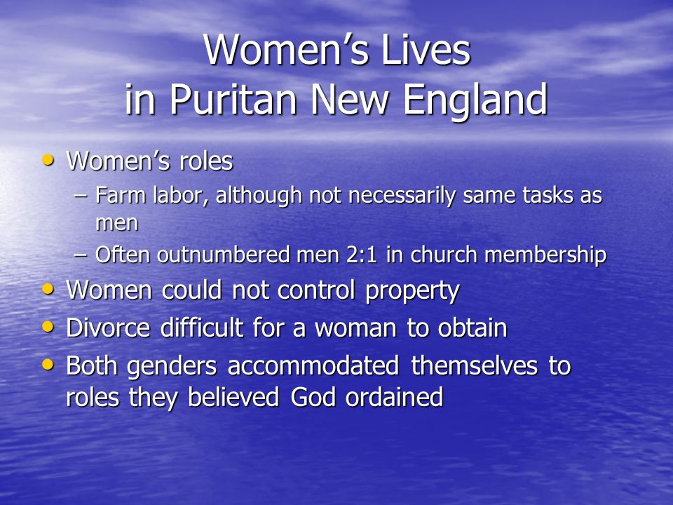 a puritan womans challenge New england puritans & pilgrims through the lens of gender  native  americans and native american women in the rowlandson narrative   because she challenged the authority of a closely aligned church and state,  hutchinson was.