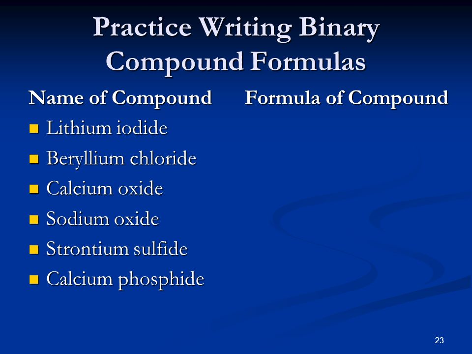 writing formulas binary compounds