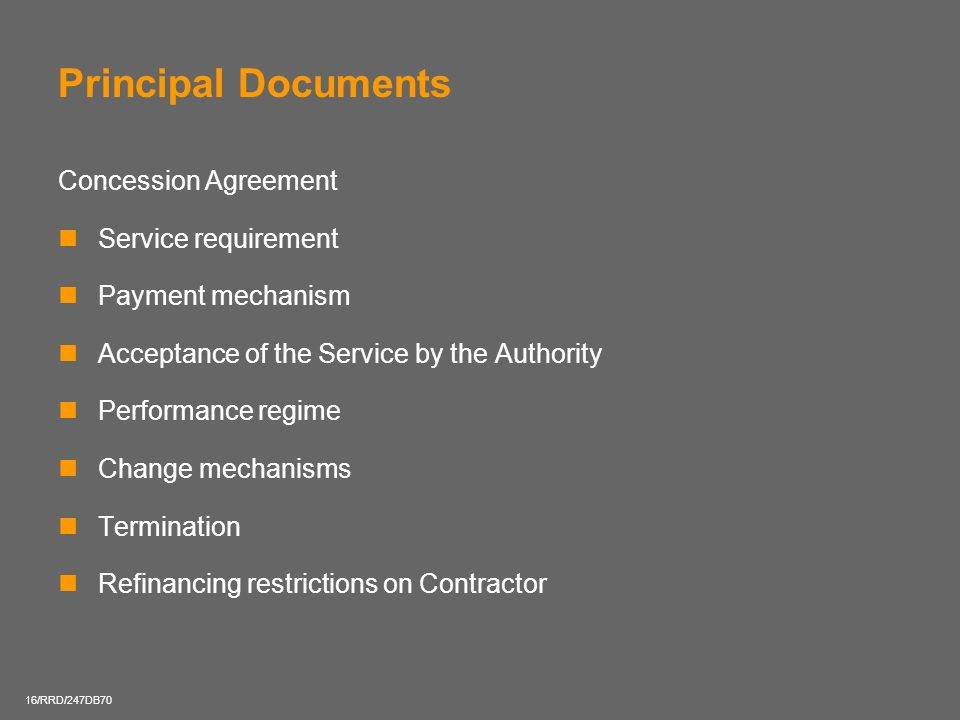 Principal Documents Concession Agreement Service requirement