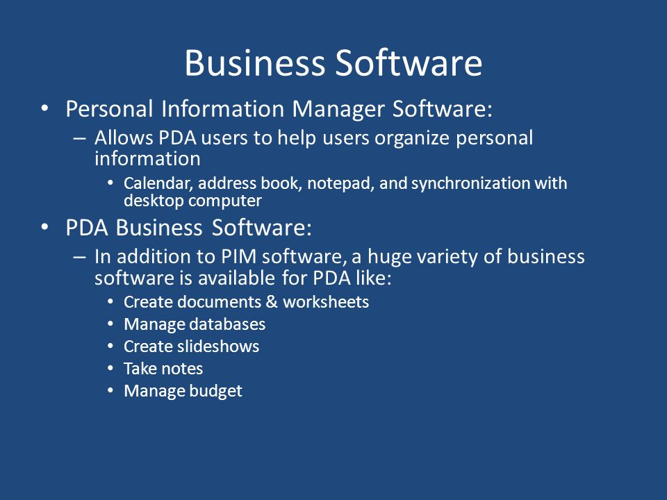 Business Software Personal Information Manager Software: