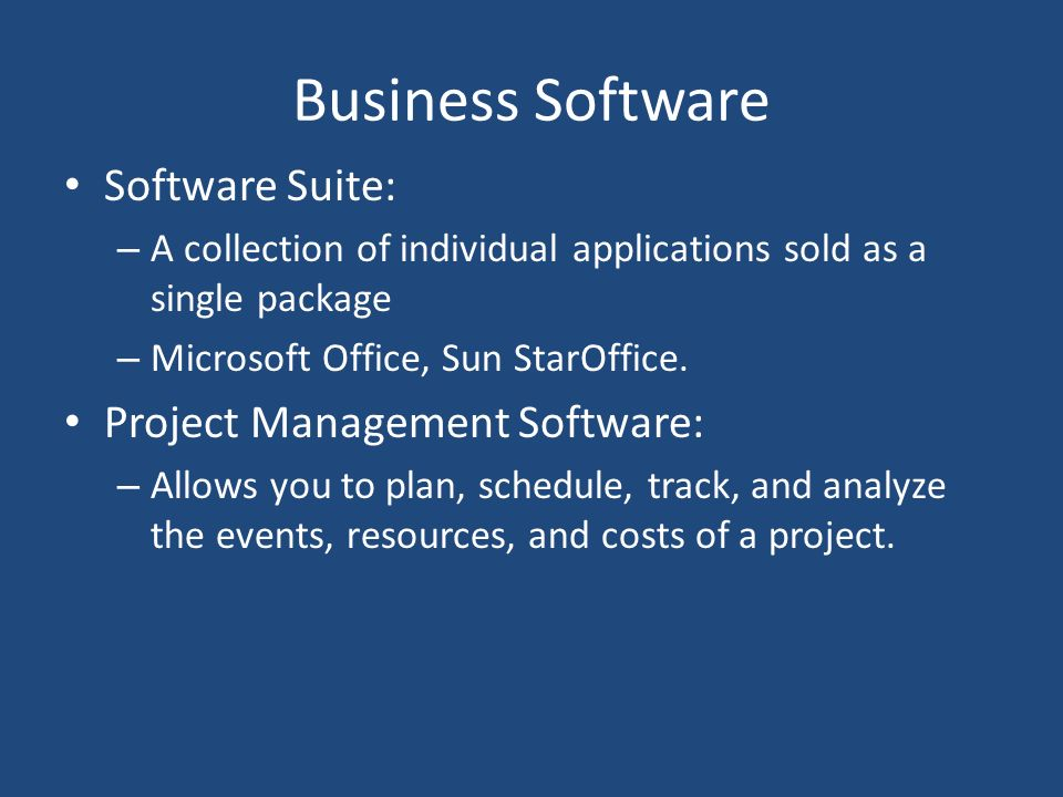 Business Software Software Suite: Project Management Software: