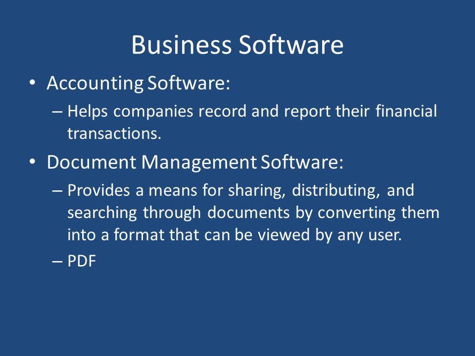 Business Software Accounting Software: Document Management Software:
