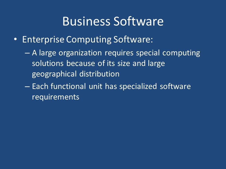 Business Software Enterprise Computing Software:
