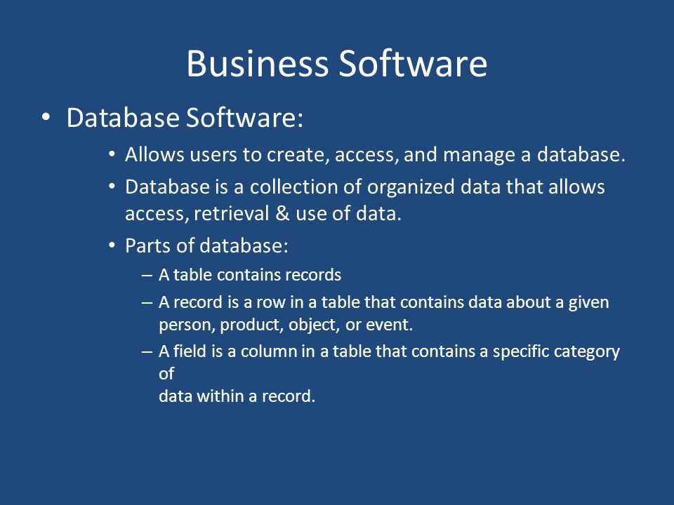 Business Software Database Software: