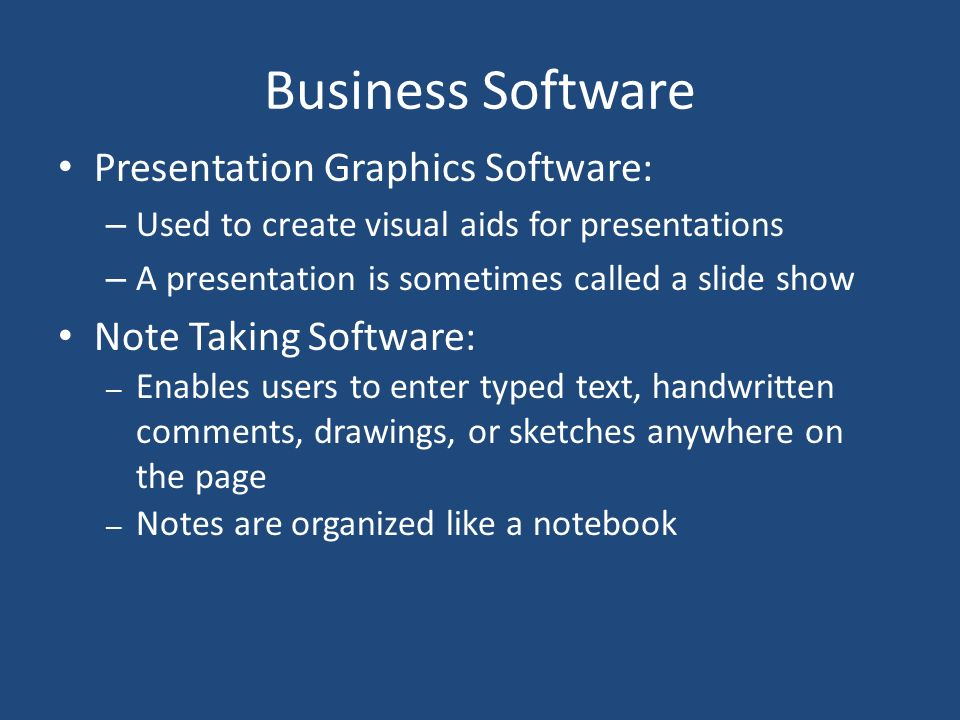 Business Software Presentation Graphics Software: